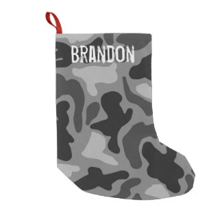 Black Camo Grunge Name Christmas Stocking