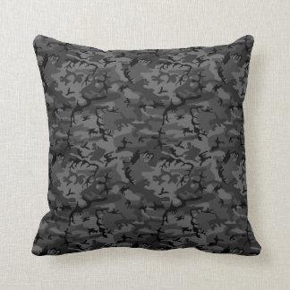 Black Camo Pattern Throw Pillow