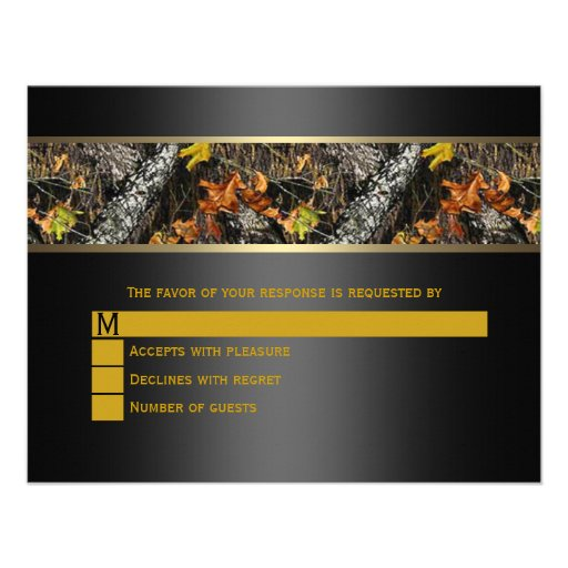 Black Camo Wedding RSVP Personalized Invite