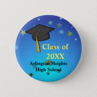 Black Cap and Stars Graduation Button