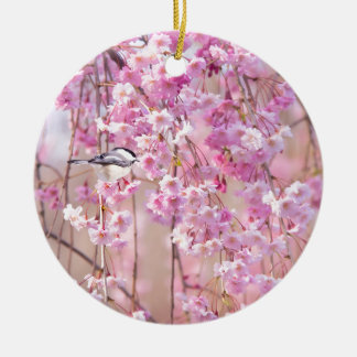 Black Cap Chickadee & Pink Weeping Willow Round Ceramic Ornament