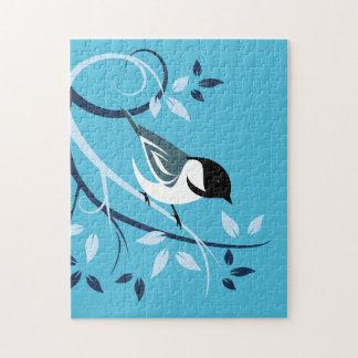 Black Capped Chickadee Art Puzzles