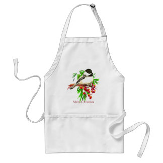 Black Capped Chickadee Bird Merry Christmas Standard Apron