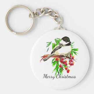 Black Capped Chickadee Bird Nature Art Keychain