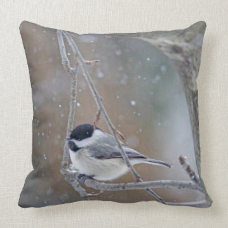 Black Capped Chickadee in Snow Throw Pillow