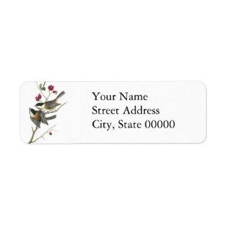 Black-capped Chickadee, John Audubon Return Address Label