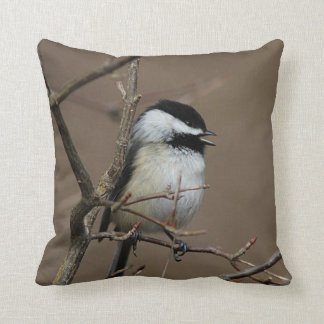 Black-capped chickadee singing throw pillow
