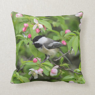 Black-capped chickadee throw pillow