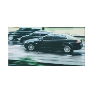 Black Car in High Speed Canvas