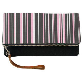 Black, Carnation Pink, and White Barcode Stripe Clutch