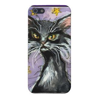 Black cartoon cat on purple night sky iPhone skin iPhone 5 Cover