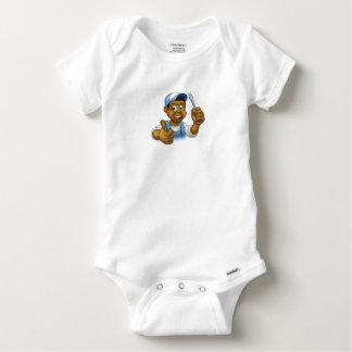 Black Cartoon Electrician Handyman Screwdriver Baby Onesie