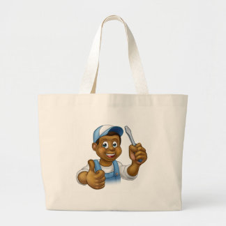Black Cartoon Electrician Handyman Screwdriver Large Tote Bag