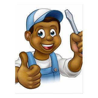 Black Cartoon Electrician Handyman Screwdriver Postcard