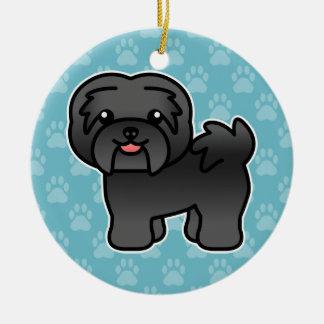 Black Cartoon Havanese Dog Round Ceramic Ornament
