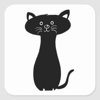 Black Cartoon Kitty Square Sticker