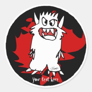 Black Cartoon Monster Personalized Label Round Sticker