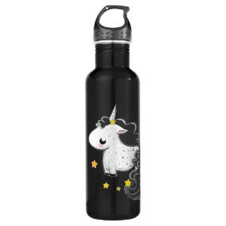 Black cartoon unicorn with stars
