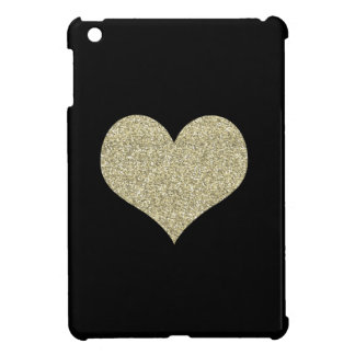 Black Case with Gold Heart iPad Mini Cases
