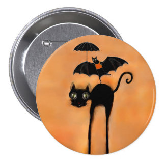 Black Cat 3 Inch Round Button