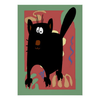 Black Cat Abstract Poster