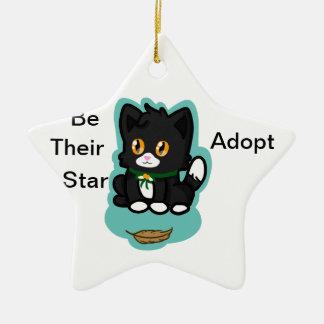 Black Cat Adopt Ceramic Star Ornament