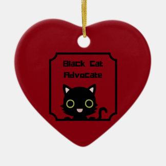 Black Cat Advocate Ceramic Heart Ornament