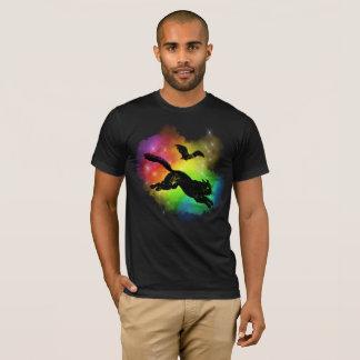 Black Cat and Bat Colored Fog T-Shirt