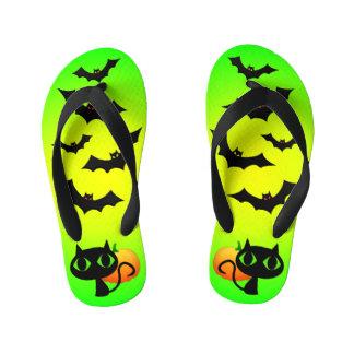 Black Cat and Bats on Green Kid's Flip Flops