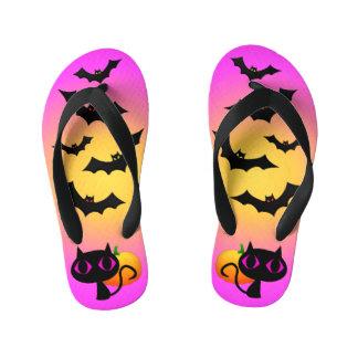 Black Cat and Bats on Pink Kid's Flip Flops