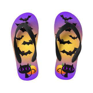 Black Cat and Bats on Purple Kid's Flip Flops