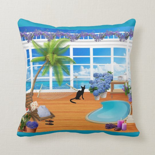 Black Cat and Beach Pillow