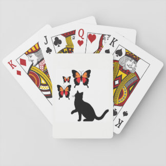 Black Cat And Butterflies Playing cards