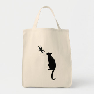 Black cat and fairy silhouette tote bag