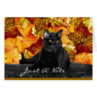 Black Cat and Fall Leaves Card