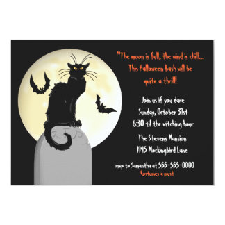 Black Cat and Full Moon Halloween Party Card