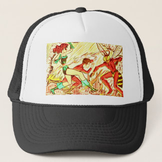 Black Cat and Giant Insect Trucker Hat