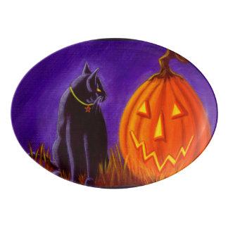 Black cat and Jack-O-Lantern platter Porcelain Serving Platter