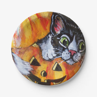 Black Cat and Jack O'Lantern Halloween Paper Plate