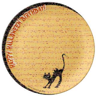 Black Cat and Moon Happy Halloween Birthday! Plate