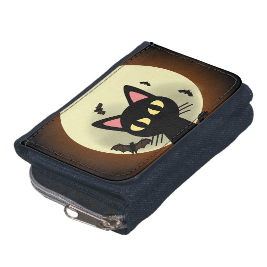 Black cat and moon. wallet