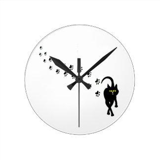 Black Cat and Pawprints Round Clock