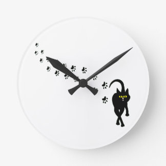 Black Cat and Pawprints Wall Clocks