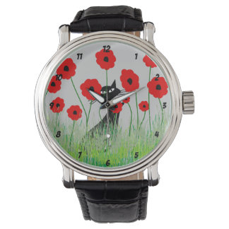 Black Cat and Poppies Watch