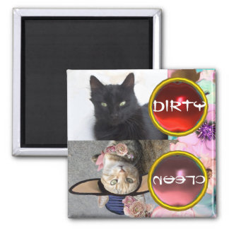 BLACK CAT AND PRINCESS TATUS DIRTY CLEAN MAGNET