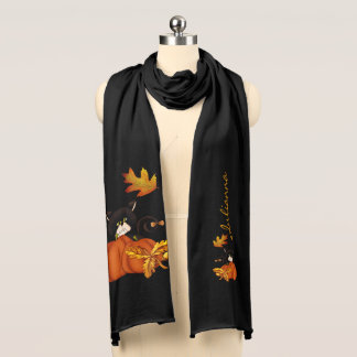 Black Cat and Pumpkin Autumn with Name Scarf