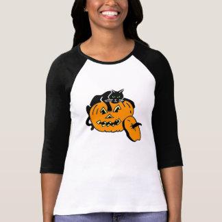 Black Cat and Pumpkin T Shirt