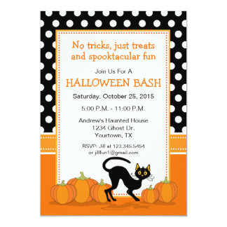 Black Cat and Pumpkins Halloween Party Invitation