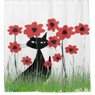 Black Cat and Red Poppies