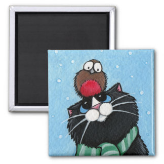 Black Cat and Robin Festive Magnet